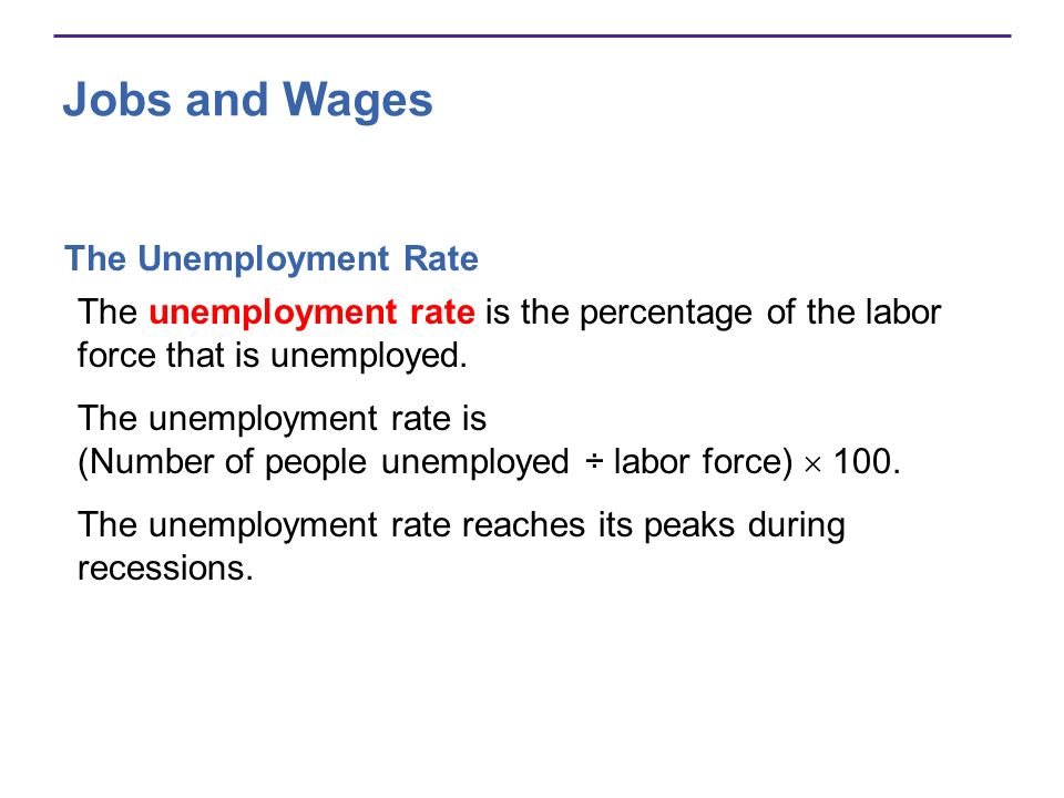 Jobs and Wages The Unemployment Rate The unemployment rate is the percentage of the labor force that is unemployed. The unemployment rate is (Number o
