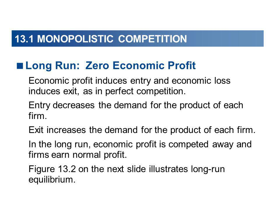 Long Run: Zero Economic Profit Economic profit induces entry and economic loss induces exit, as in perfect competition. Entry decreases the demand for