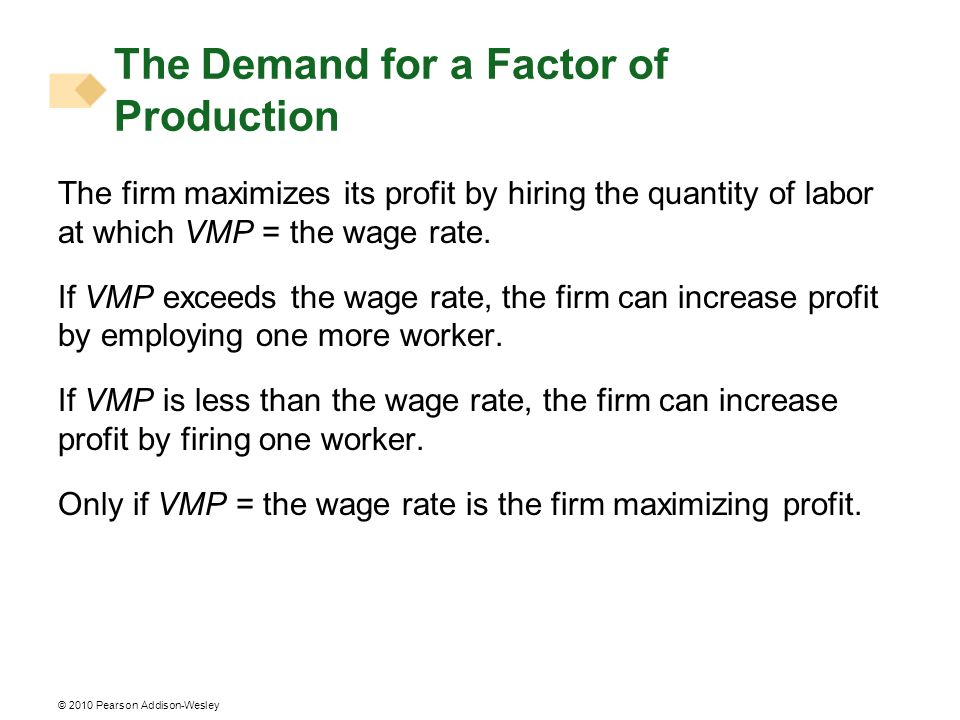 © 2010 Pearson Addison-Wesley The firm maximizes its profit by hiring the quantity of labor at which VMP = the wage rate. If VMP exceeds the wage rate