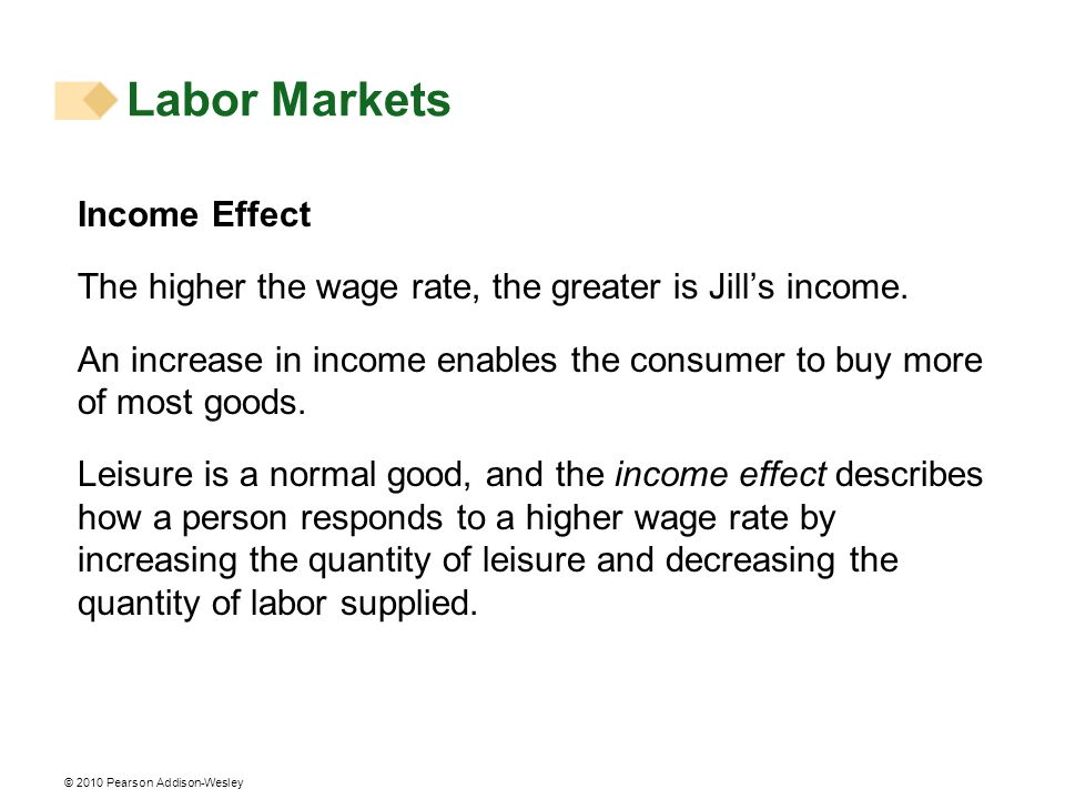 © 2010 Pearson Addison-Wesley Income Effect The higher the wage rate, the greater is Jills income. An increase in income enables the consumer to buy m