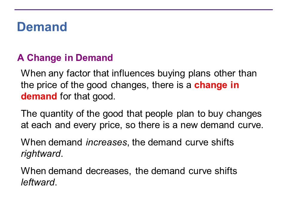 Demand A Change in Demand When any factor that influences buying plans other than the price of the good changes, there is a change in demand for that