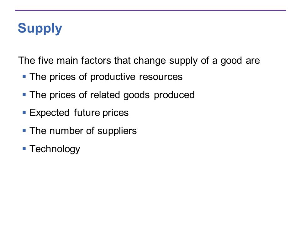 Supply The five main factors that change supply of a good are The prices of productive resources The prices of related goods produced Expected future