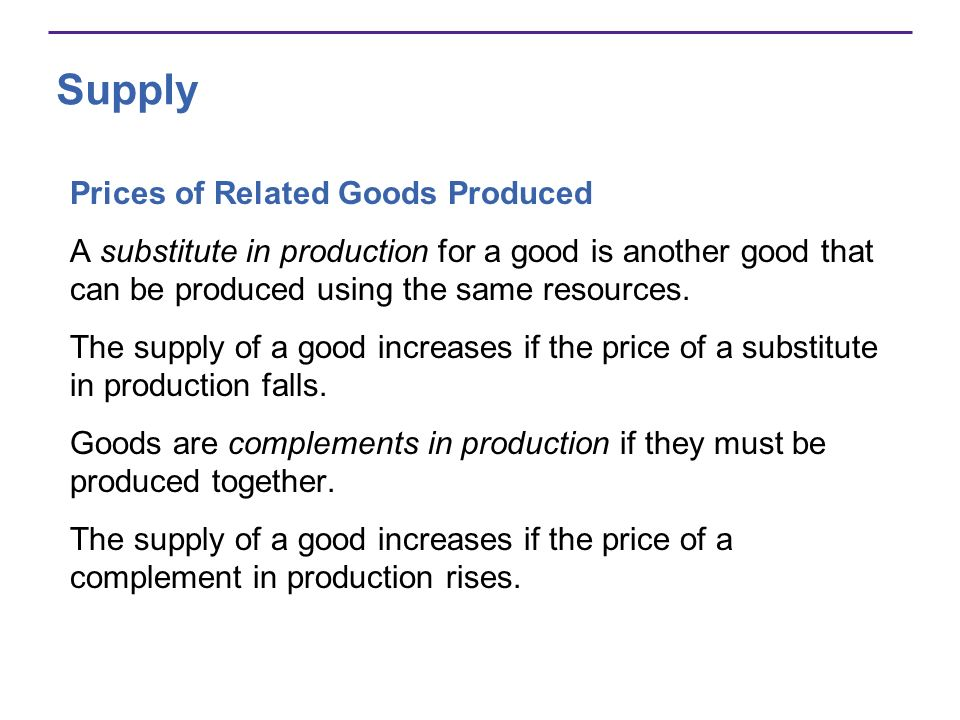 Supply Prices of Related Goods Produced A substitute in production for a good is another good that can be produced using the same resources. The suppl