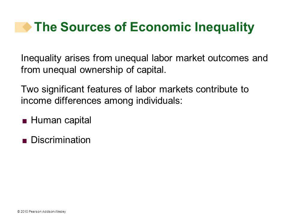 © 2010 Pearson Addison-Wesley The Sources of Economic Inequality Inequality arises from unequal labor market outcomes and from unequal ownership of capital.