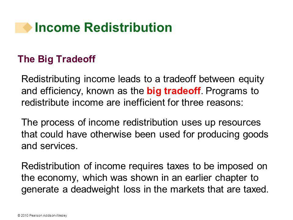 © 2010 Pearson Addison-Wesley The Big Tradeoff Redistributing income leads to a tradeoff between equity and efficiency, known as the big tradeoff.