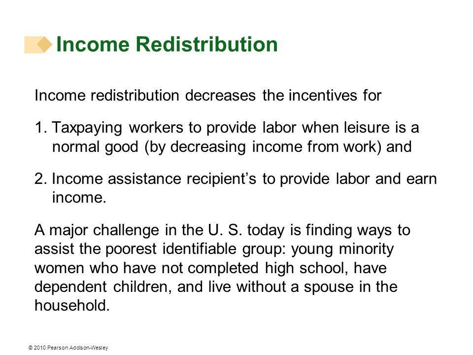 © 2010 Pearson Addison-Wesley Income redistribution decreases the incentives for 1.