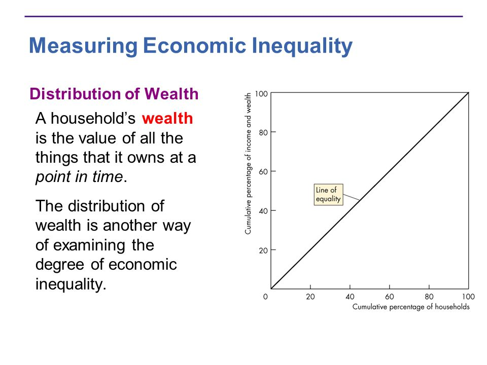 Measuring Economic Inequality Distribution of Wealth A households wealth is the value of all the things that it owns at a point in time. The distribut