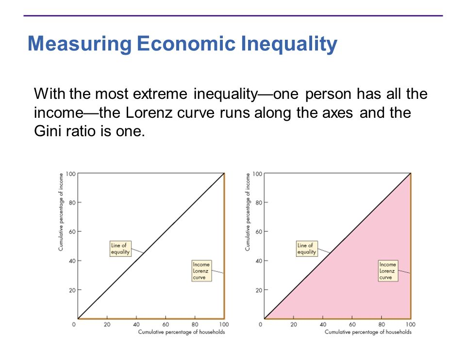 Measuring Economic Inequality With the most extreme inequalityone person has all the incomethe Lorenz curve runs along the axes and the Gini ratio is
