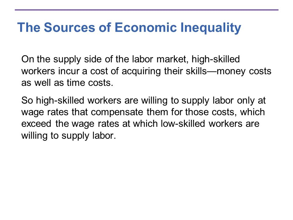 The Sources of Economic Inequality On the supply side of the labor market, high-skilled workers incur a cost of acquiring their skillsmoney costs as w