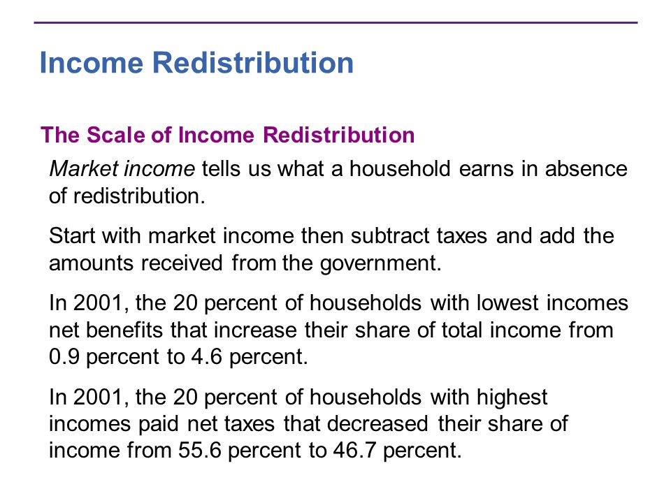 Income Redistribution The Scale of Income Redistribution Market income tells us what a household earns in absence of redistribution. Start with market