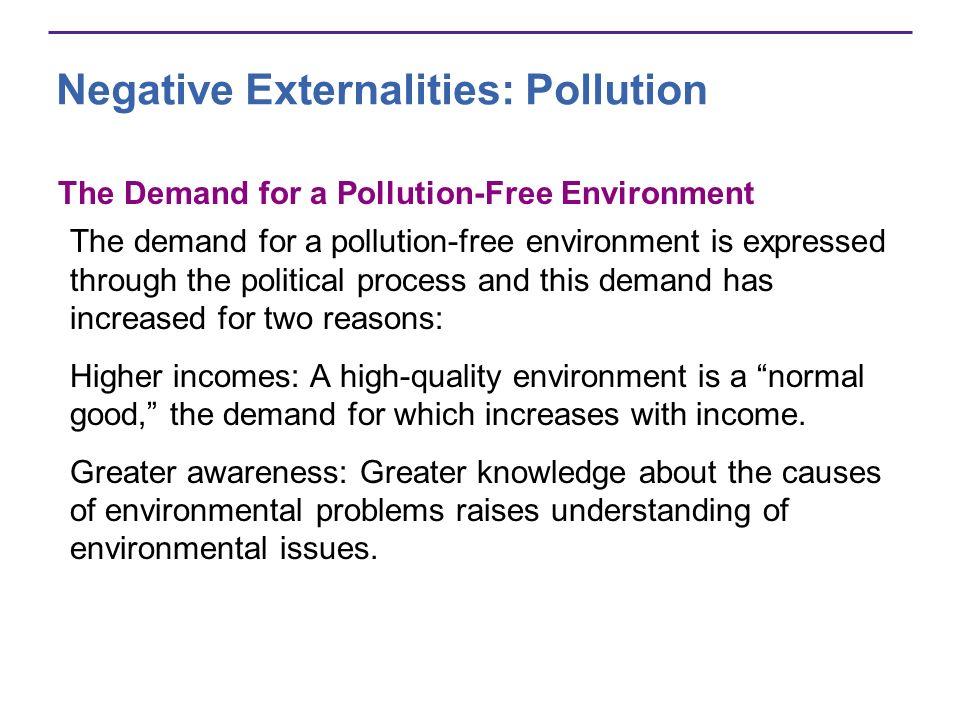 Negative Externalities: Pollution The Demand for a Pollution-Free Environment The demand for a pollution-free environment is expressed through the pol