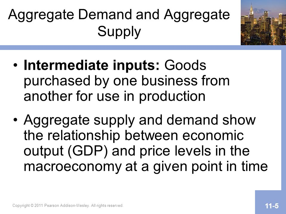 Aggregate Demand and Aggregate Supply (cont.) The aggregate supply curve calls attention to three regions of GDP: under, nearing, and at or beyond full employment equilibrium The aggregate demand curve shows expenditure by consumers (C), business (I), the government (G), and foreign purchases of exports – domestic purchases of imports (X–M) at various price levels Copyright © 2011 Pearson Addison-Wesley.