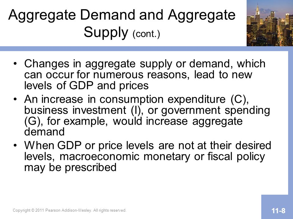 Copyright © 2011 Pearson Addison-Wesley. All rights reserved. 11-8 Aggregate Demand and Aggregate Supply (cont.) Changes in aggregate supply or demand
