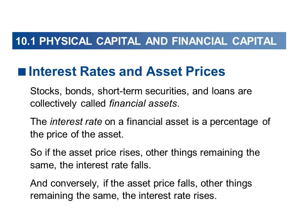 Interest Rates and Asset Prices Stocks, bonds, short-term securities, and loans are collectively called financial assets. The interest rate on a finan