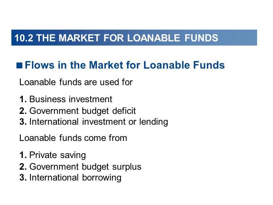 Flows in the Market for Loanable Funds Loanable funds are used for 1. Business investment 2. Government budget deficit 3. International investment or