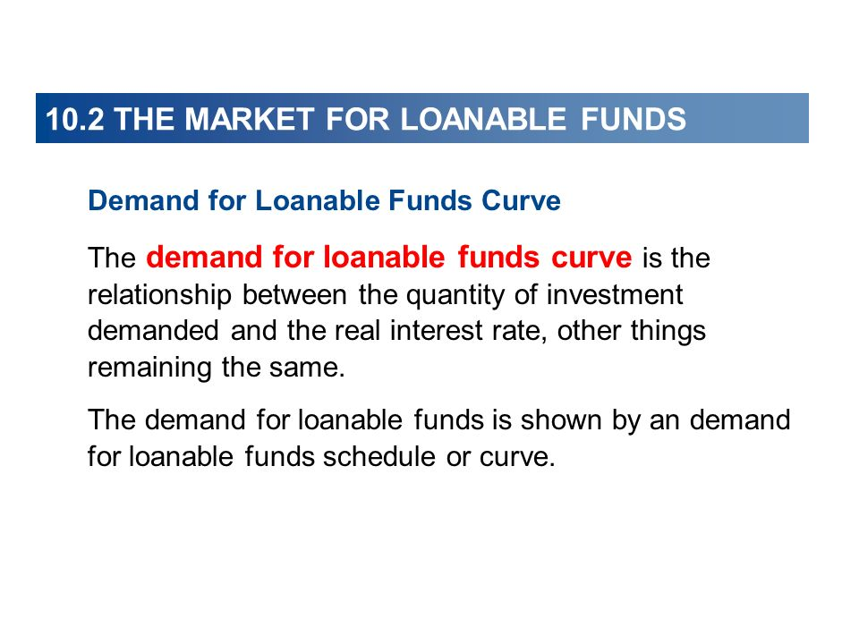 10.2 THE MARKET FOR LOANABLE FUNDS Demand for Loanable Funds Curve The demand for loanable funds curve is the relationship between the quantity of inv