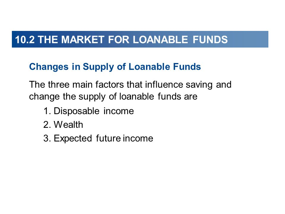 10.2 THE MARKET FOR LOANABLE FUNDS Changes in Supply of Loanable Funds The three main factors that influence saving and change the supply of loanable
