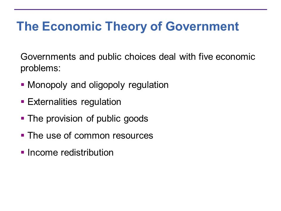 The Economic Theory of Government Governments and public choices deal with five economic problems: Monopoly and oligopoly regulation Externalities regulation The provision of public goods The use of common resources Income redistribution