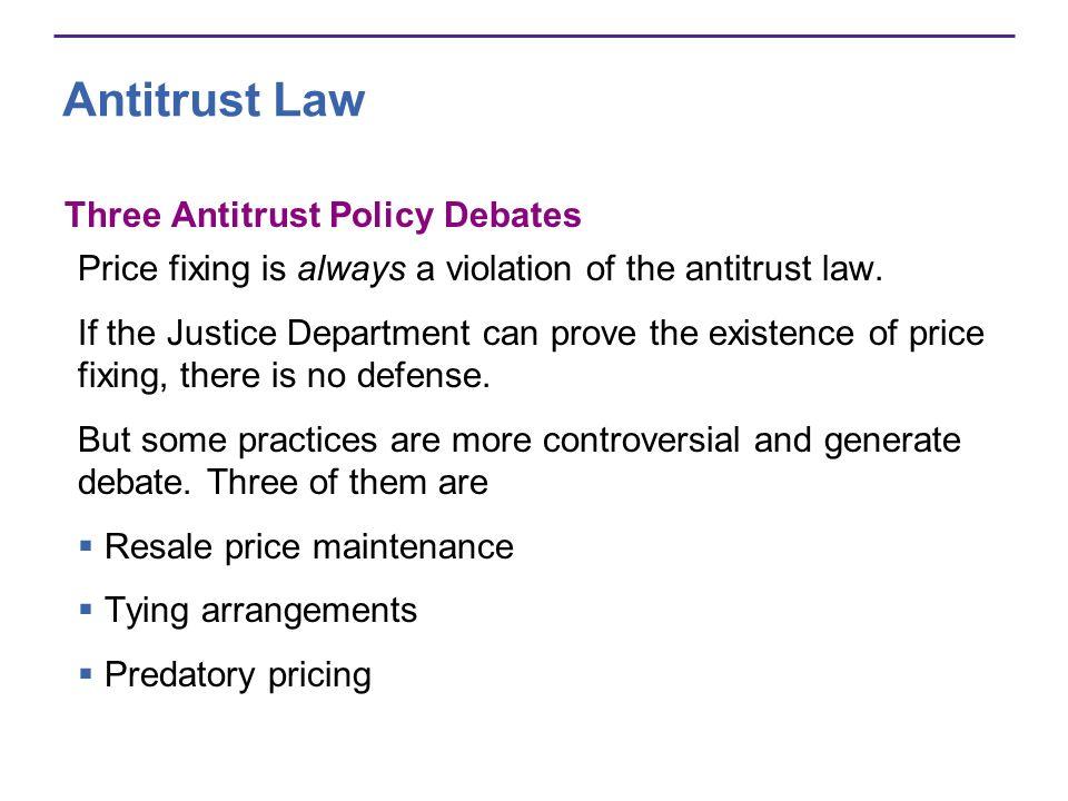 Antitrust Law Three Antitrust Policy Debates Price fixing is always a violation of the antitrust law.