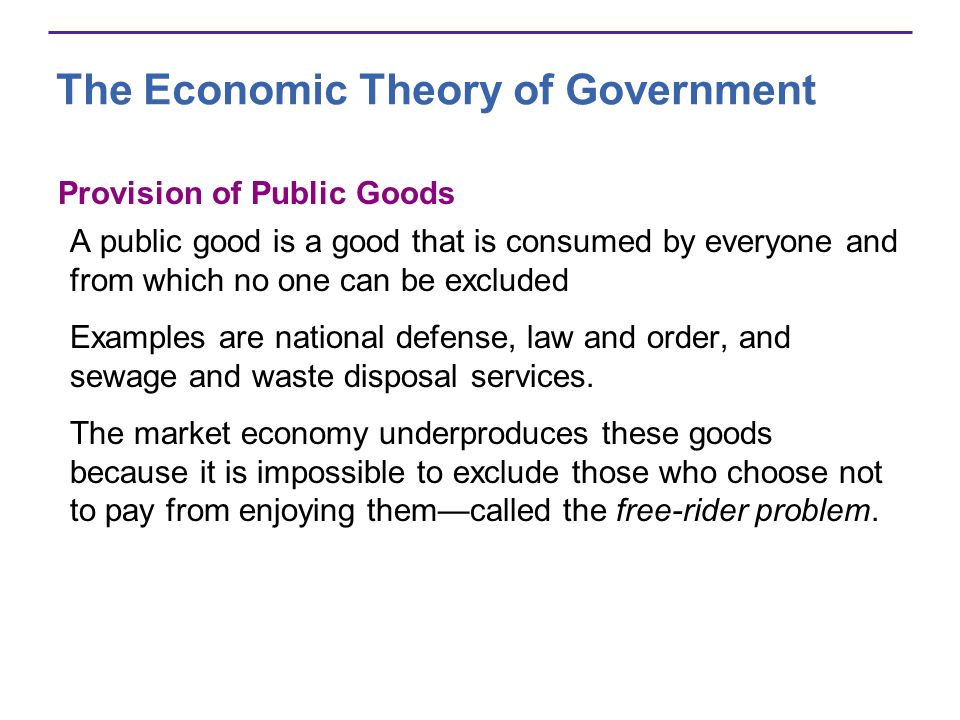 The Economic Theory of Government Provision of Public Goods A public good is a good that is consumed by everyone and from which no one can be excluded Examples are national defense, law and order, and sewage and waste disposal services.