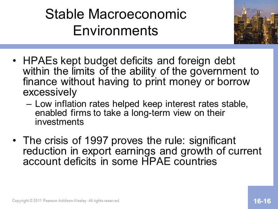 Copyright © 2011 Pearson Addison-Wesley. All rights reserved. 16-16 Stable Macroeconomic Environments HPAEs kept budget deficits and foreign debt with