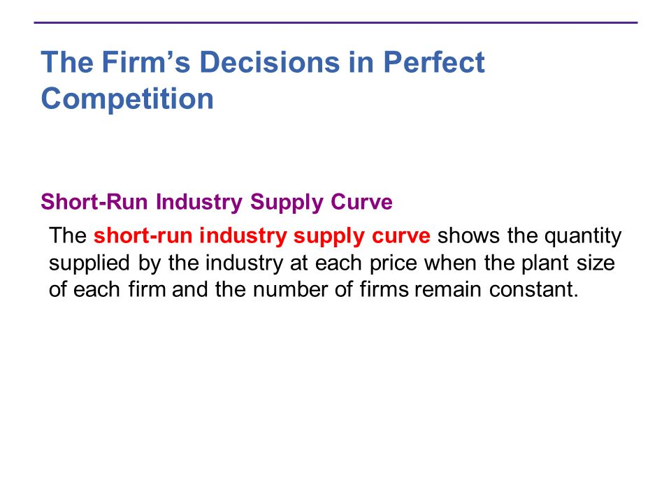 The Firms Decisions in Perfect Competition Short-Run Industry Supply Curve The short-run industry supply curve shows the quantity supplied by the indu