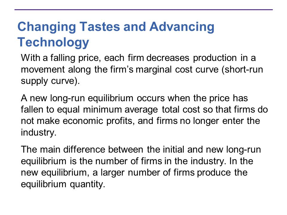 Changing Tastes and Advancing Technology With a falling price, each firm decreases production in a movement along the firms marginal cost curve (short