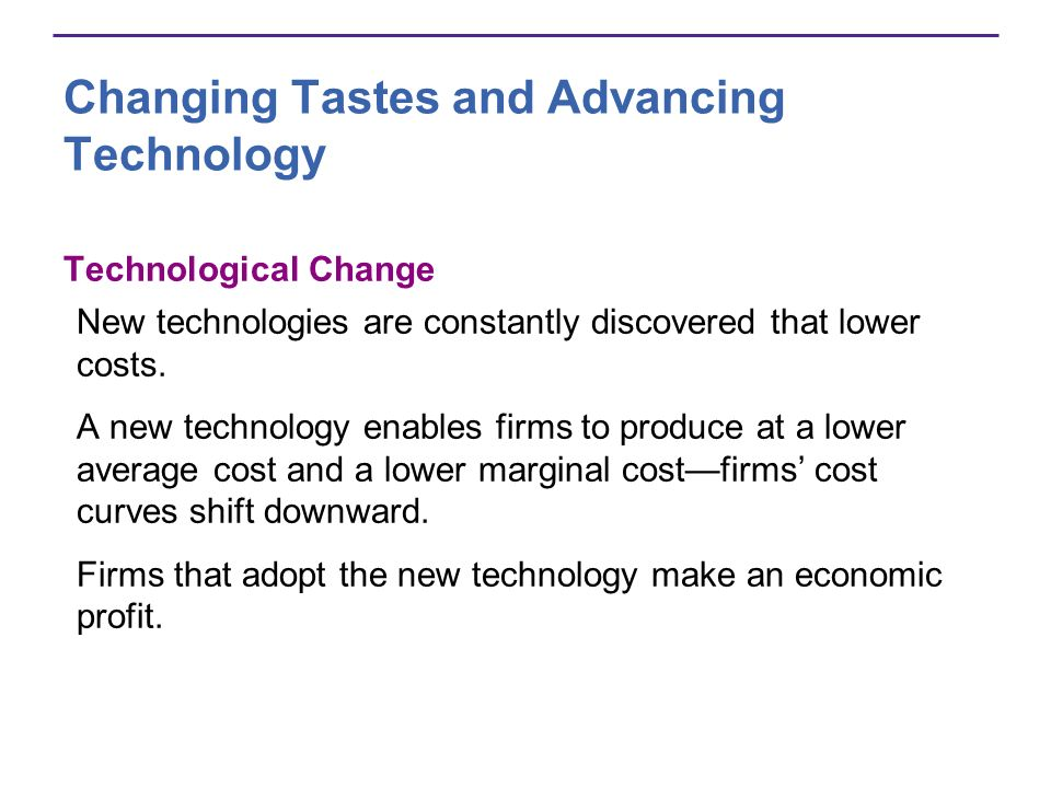 Changing Tastes and Advancing Technology Technological Change New technologies are constantly discovered that lower costs. A new technology enables fi