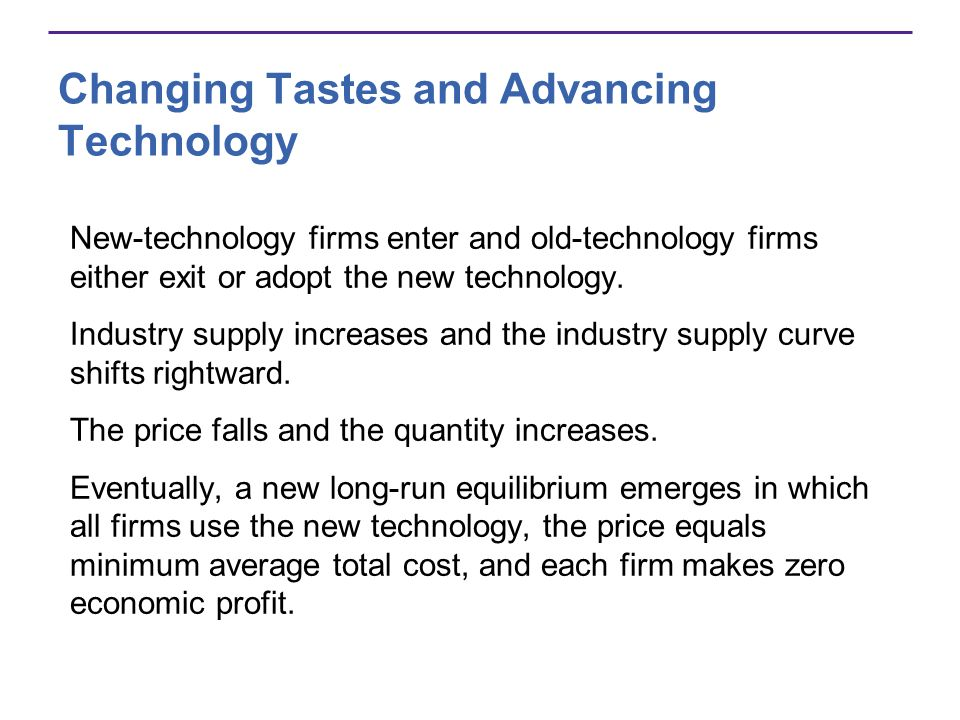 Changing Tastes and Advancing Technology New-technology firms enter and old-technology firms either exit or adopt the new technology. Industry supply