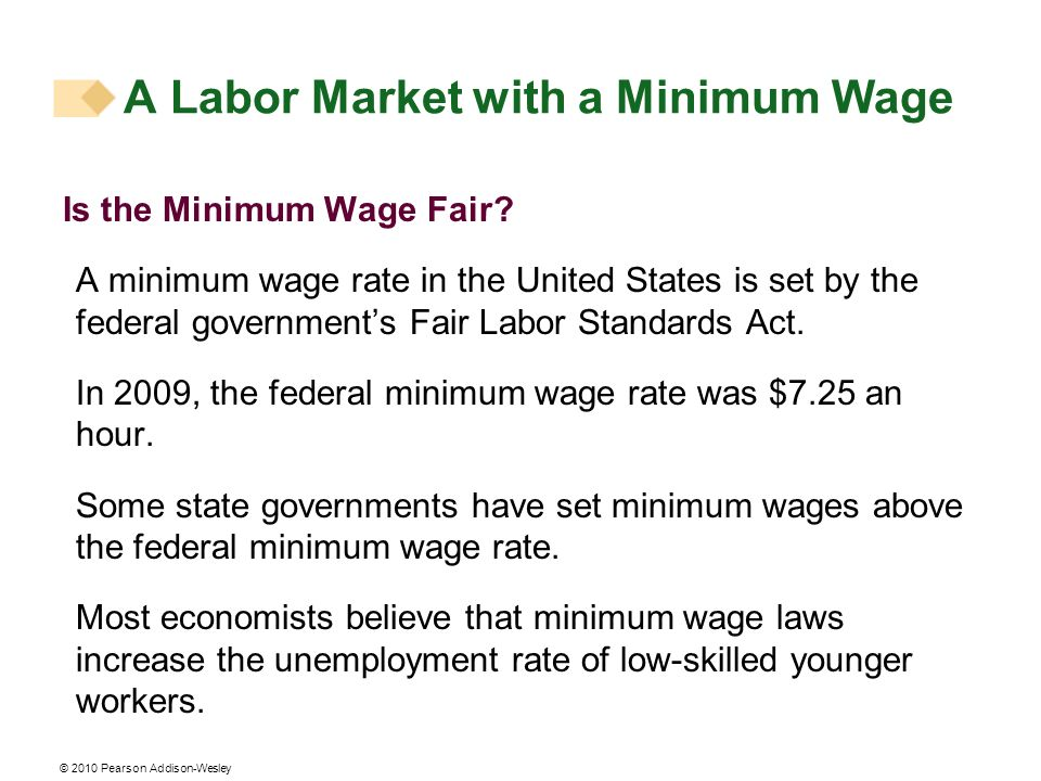 © 2010 Pearson Addison-Wesley Is the Minimum Wage Fair? A minimum wage rate in the United States is set by the federal governments Fair Labor Standard