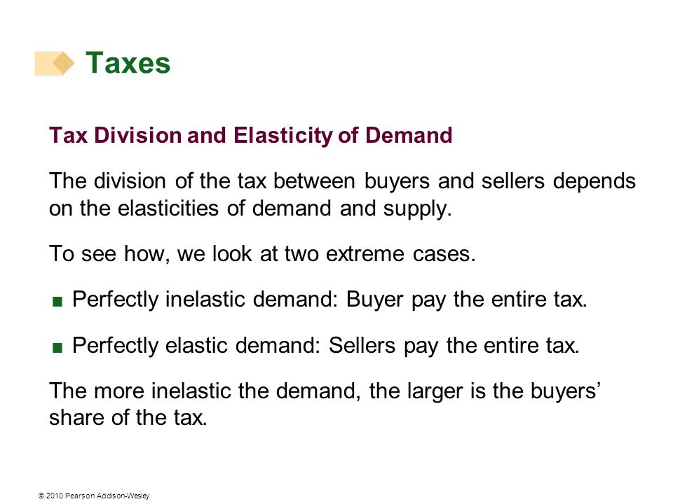 © 2010 Pearson Addison-Wesley Tax Division and Elasticity of Demand The division of the tax between buyers and sellers depends on the elasticities of