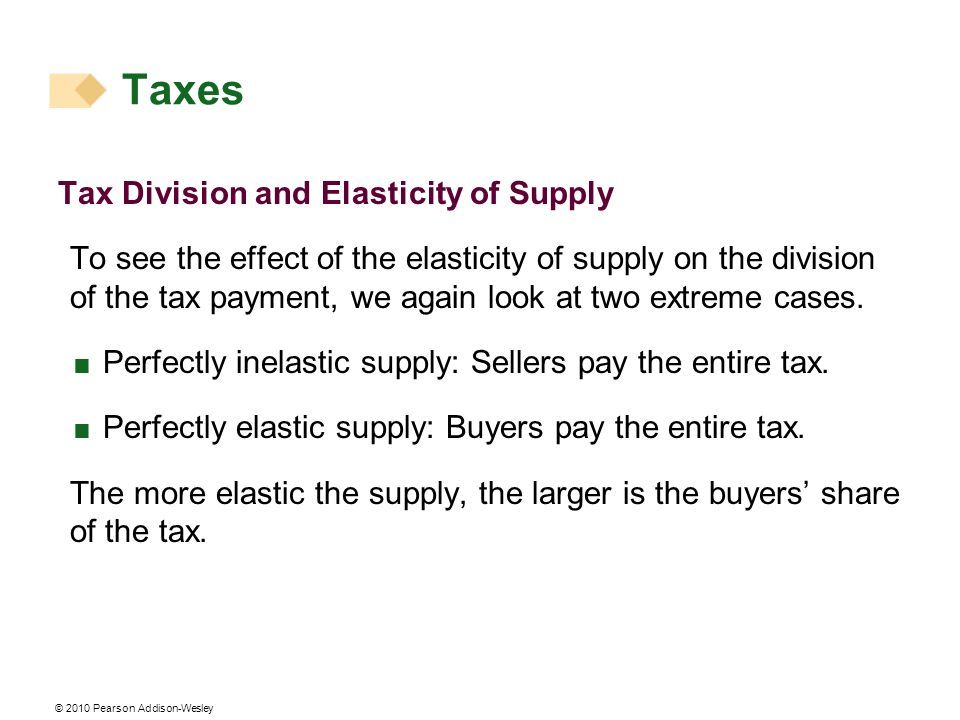 © 2010 Pearson Addison-Wesley Tax Division and Elasticity of Supply To see the effect of the elasticity of supply on the division of the tax payment,