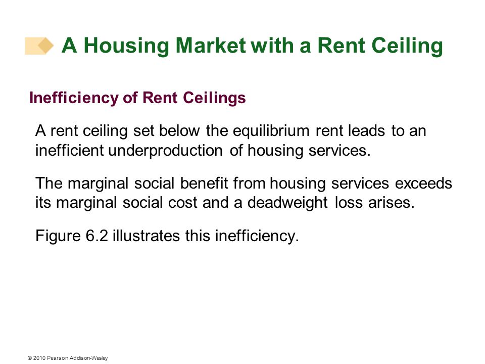 © 2010 Pearson Addison-Wesley A rent ceiling decreases the quantity of housing supplied to less than the efficient quantity.