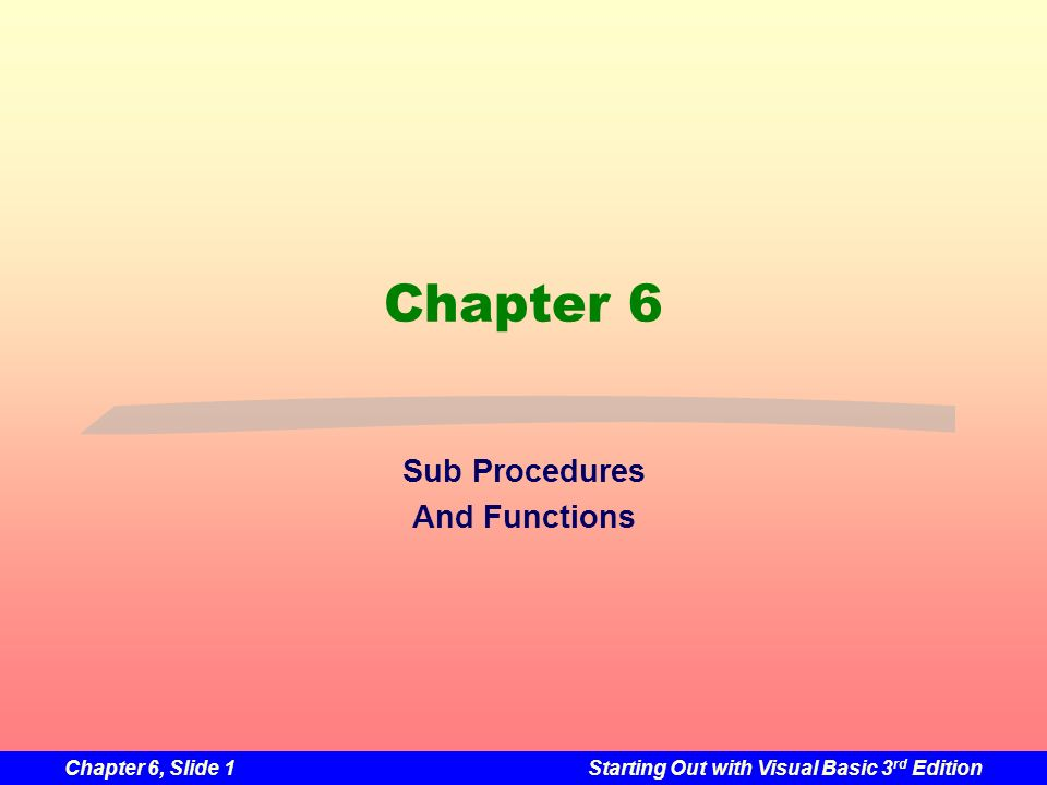 Chapter 6, Slide 1Starting Out with Visual Basic 3 rd Edition Chapter 6 Sub Procedures And Functions