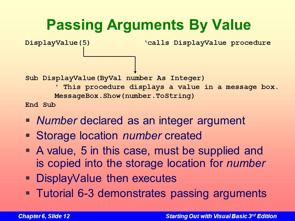 Chapter 6, Slide 12Starting Out with Visual Basic 3 rd Edition Passing Arguments By Value Number declared as an integer argument Storage location number created A value, 5 in this case, must be supplied and is copied into the storage location for number DisplayValue then executes Tutorial 6-3 demonstrates passing arguments DisplayValue(5)calls DisplayValue procedure Sub DisplayValue(ByVal number As Integer) This procedure displays a value in a message box.