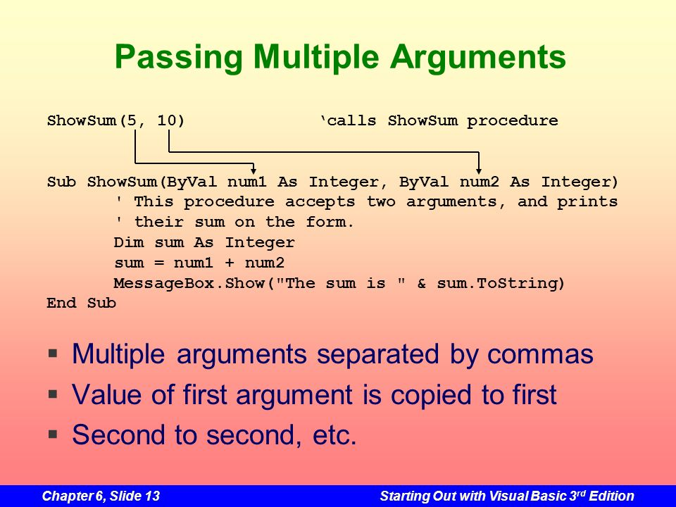 Chapter 6, Slide 13Starting Out with Visual Basic 3 rd Edition Passing Multiple Arguments Multiple arguments separated by commas Value of first argument is copied to first Second to second, etc.