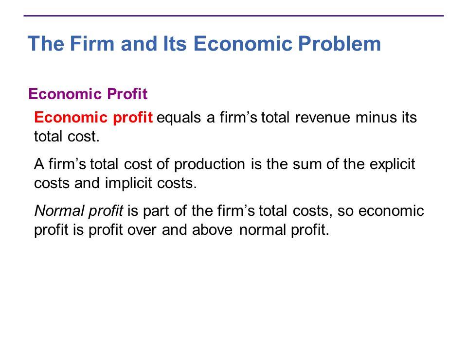 The Firm and Its Economic Problem Economic Profit Economic profit equals a firms total revenue minus its total cost. A firms total cost of production