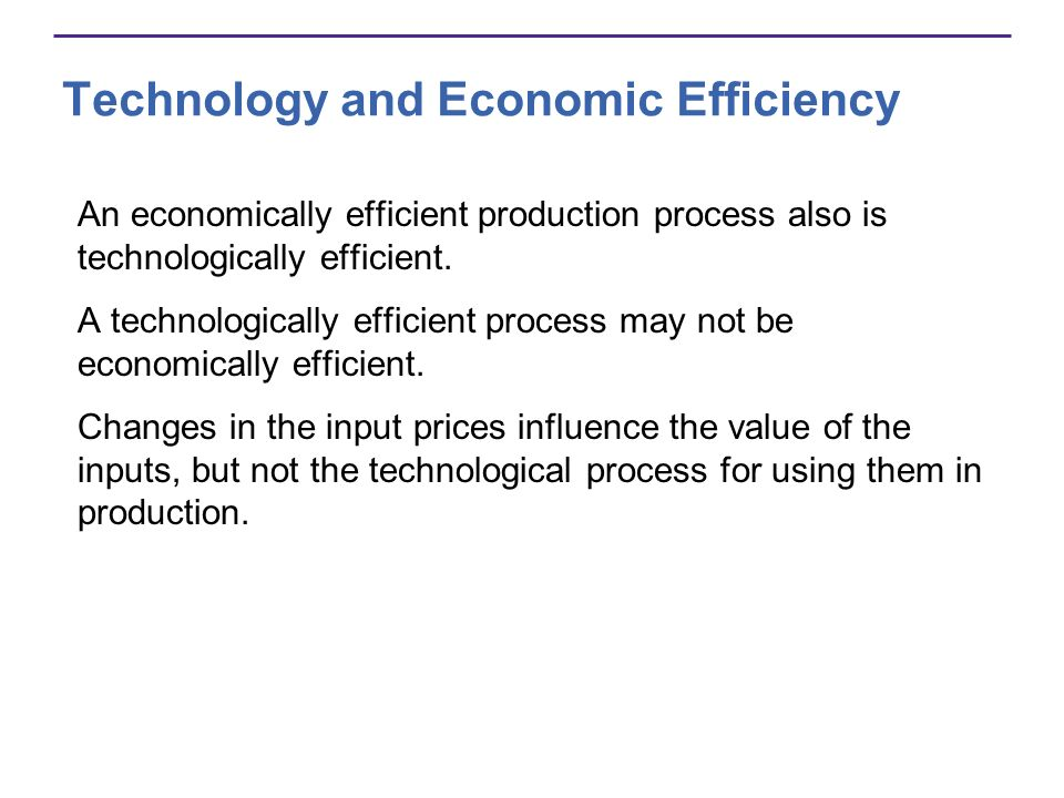 Technology and Economic Efficiency An economically efficient production process also is technologically efficient. A technologically efficient process