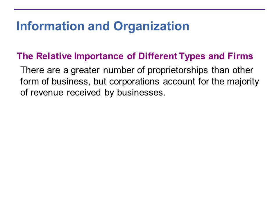 Information and Organization The Relative Importance of Different Types and Firms There are a greater number of proprietorships than other form of bus