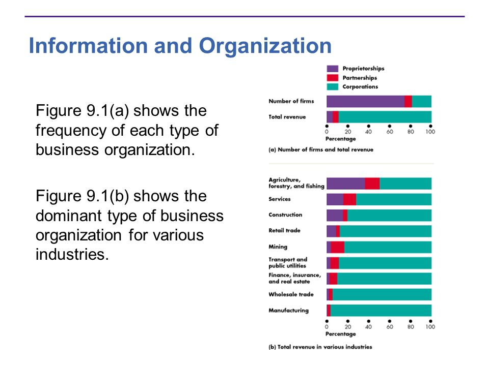 Information and Organization Figure 9.1(a) shows the frequency of each type of business organization. Figure 9.1(b) shows the dominant type of busines