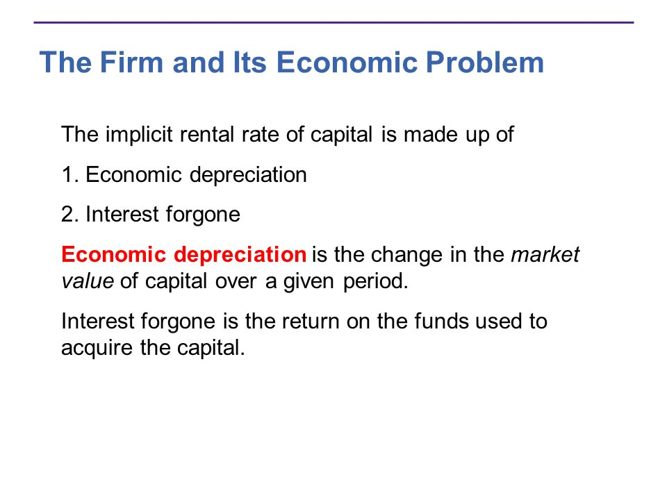 The Firm and Its Economic Problem The implicit rental rate of capital is made up of 1. Economic depreciation 2. Interest forgone Economic depreciation
