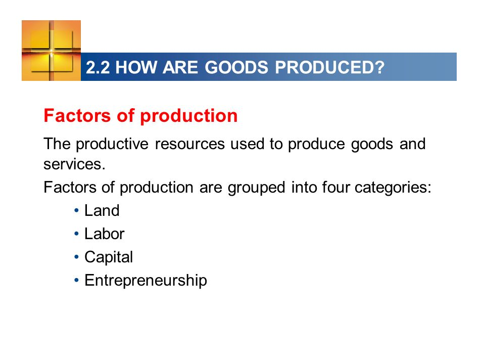 2.2 HOW ARE GOODS PRODUCED? Factors of production The productive resources used to produce goods and services. Factors of production are grouped into