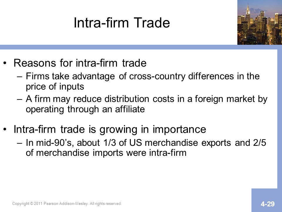 Copyright © 2011 Pearson Addison-Wesley. All rights reserved. 4-29 Intra-firm Trade Reasons for intra-firm trade –Firms take advantage of cross-countr