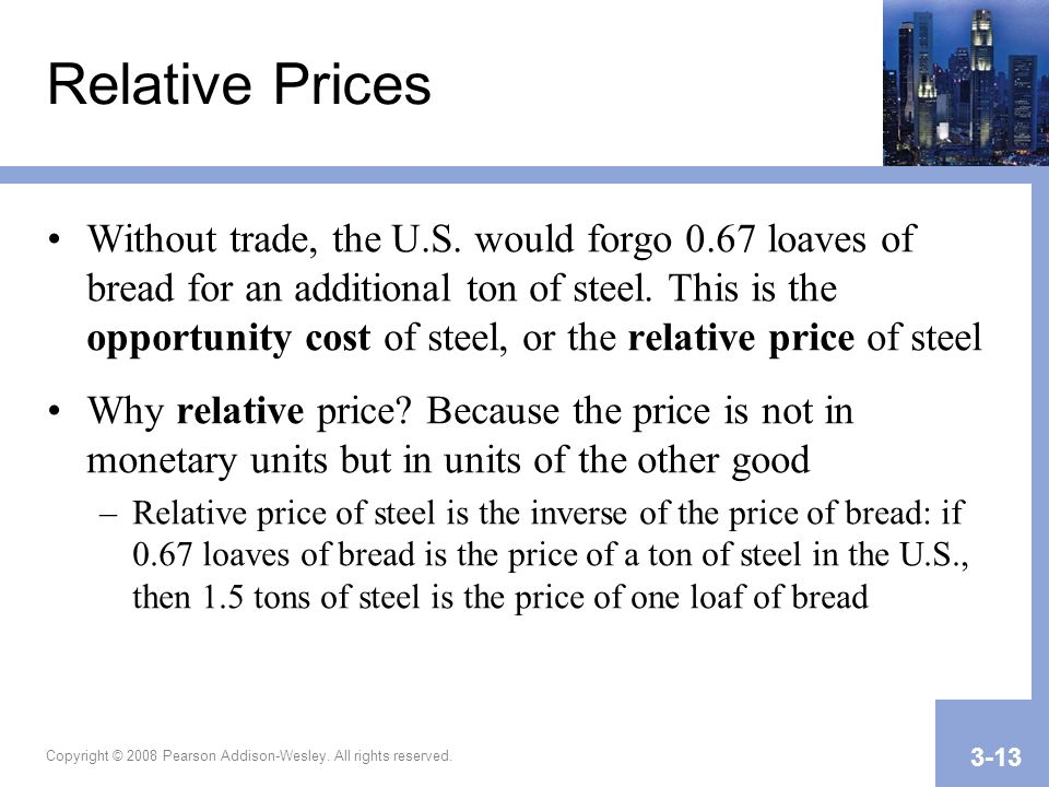 Copyright © 2008 Pearson Addison-Wesley. All rights reserved. 3-13 Relative Prices Without trade, the U.S. would forgo 0.67 loaves of bread for an add