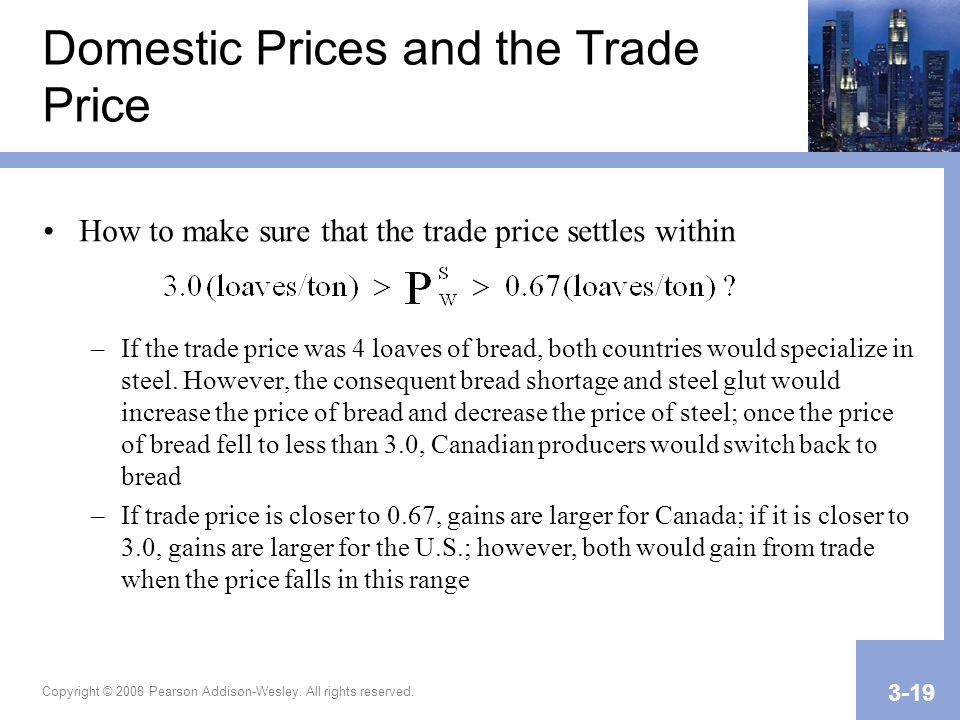 Copyright © 2008 Pearson Addison-Wesley. All rights reserved. 3-19 Domestic Prices and the Trade Price How to make sure that the trade price settles w