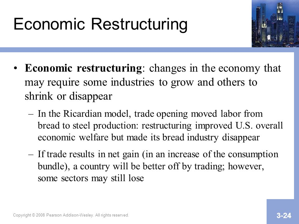 Copyright © 2008 Pearson Addison-Wesley. All rights reserved. 3-24 Economic Restructuring Economic restructuring: changes in the economy that may requ