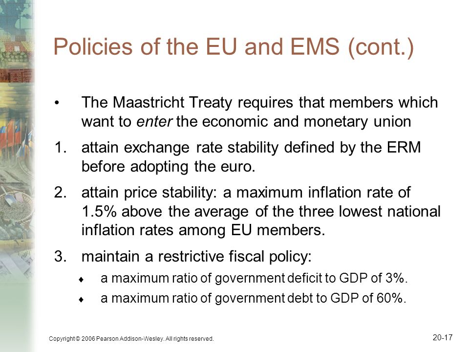 Copyright © 2006 Pearson Addison-Wesley. All rights reserved. 20-17 Policies of the EU and EMS (cont.) The Maastricht Treaty requires that members whi