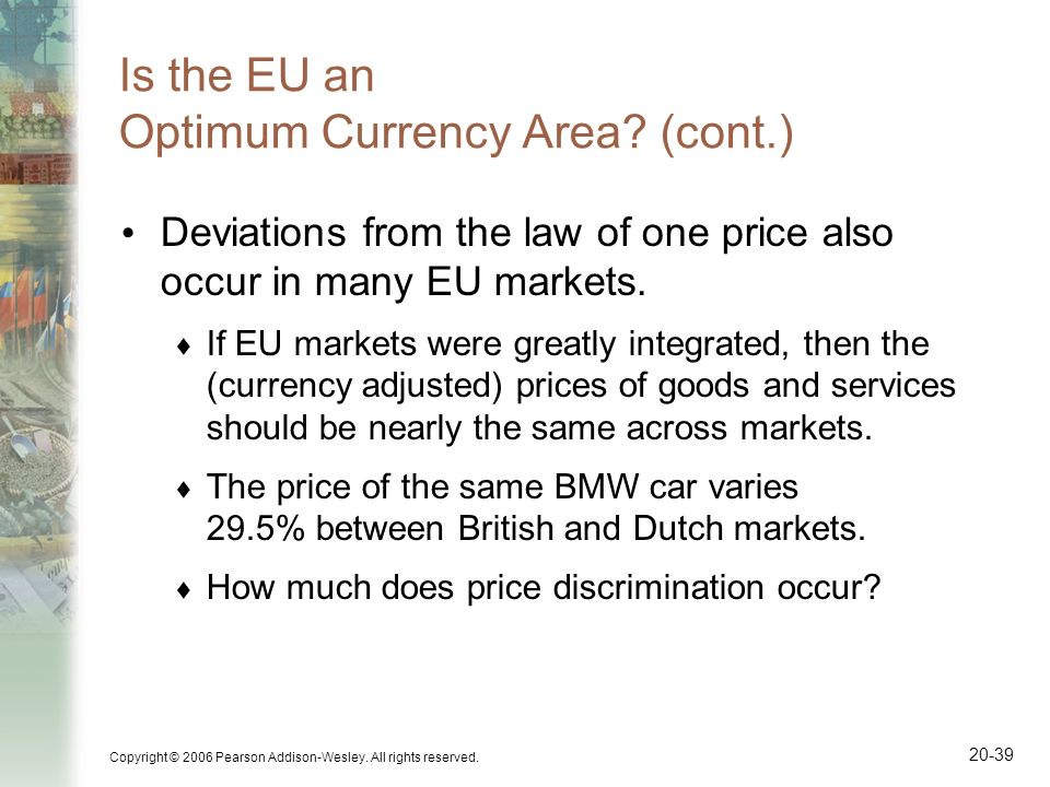 Copyright © 2006 Pearson Addison-Wesley. All rights reserved. 20-39 Is the EU an Optimum Currency Area? (cont.) Deviations from the law of one price a