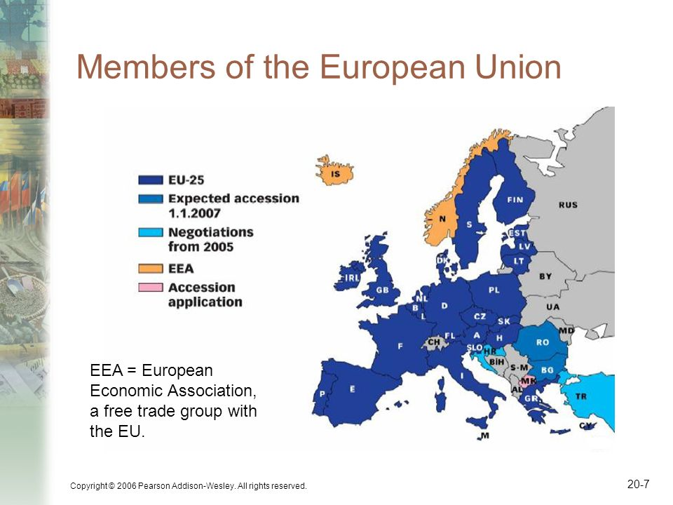 Copyright © 2006 Pearson Addison-Wesley. All rights reserved. 20-7 Members of the European Union EEA = European Economic Association, a free trade gro
