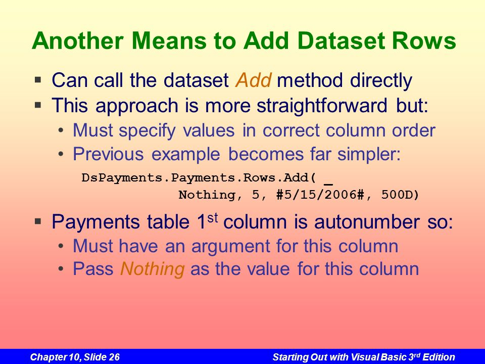 Chapter 10, Slide 26Starting Out with Visual Basic 3 rd Edition Another Means to Add Dataset Rows Can call the dataset Add method directly This approa